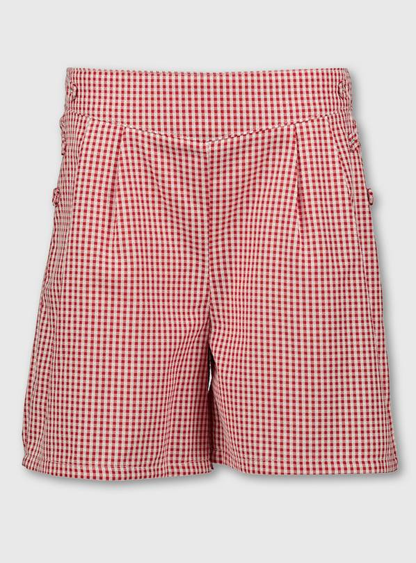 Red Gingham School Culottes - 6 years