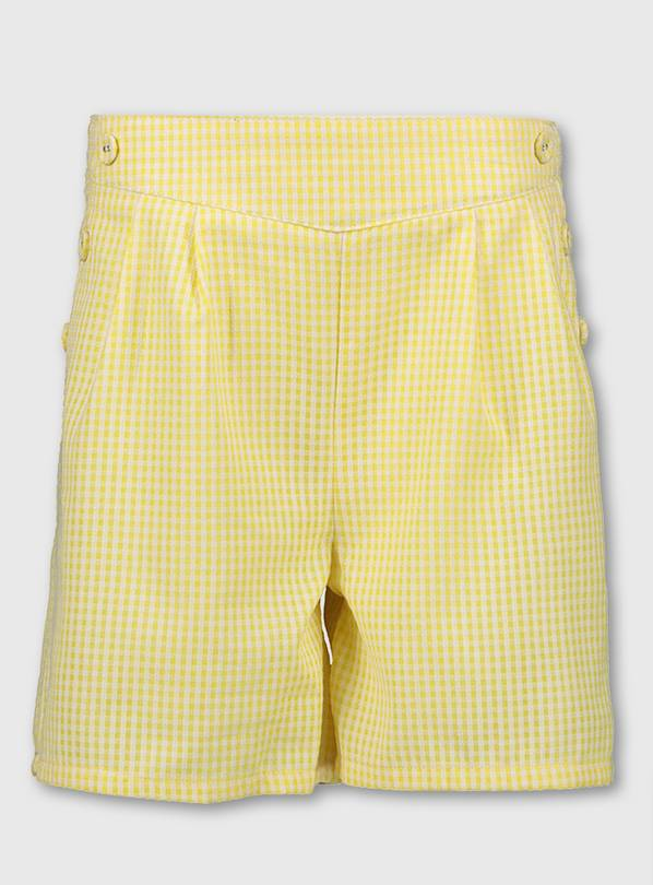 Yellow Gingham School Culottes - 7 years