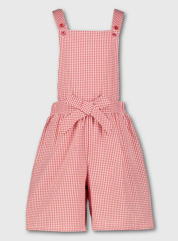 Red Gingham School Bibshorts - 8 years