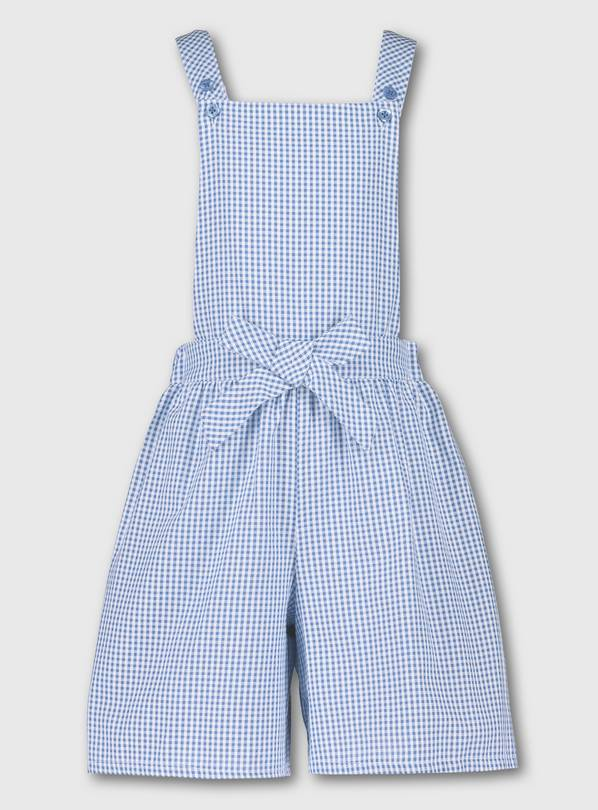 Blue Gingham School Bibshorts - 12 years