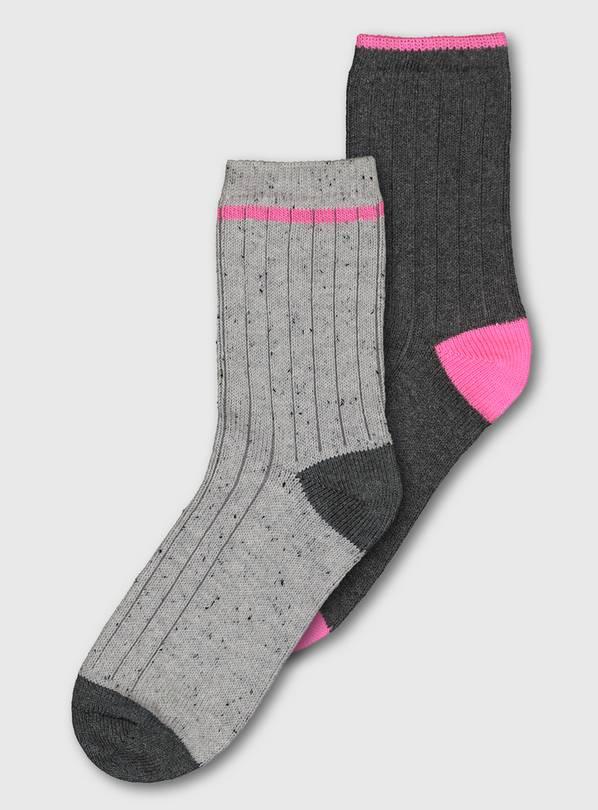 Buy Grey Pink Rib Boot Socks 2 Pack 4 8 Socks And Tights Argos