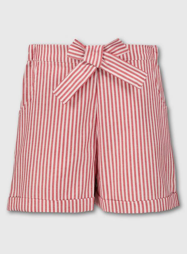 Red & White Stripe School Shorts - 8 years