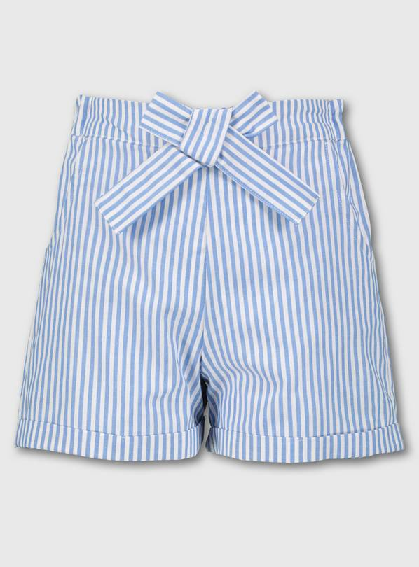 Blue & White Stripe School Shorts - 8 years