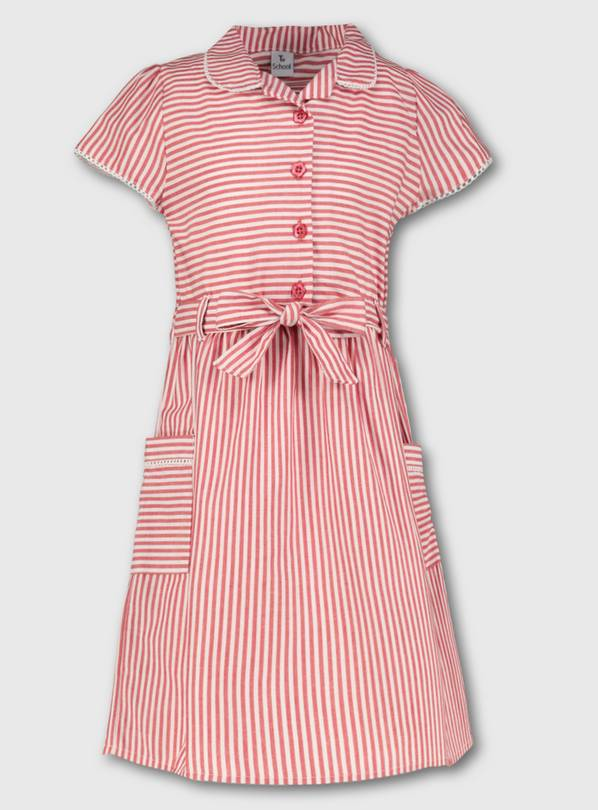Red Stripy School Dress - 7 years