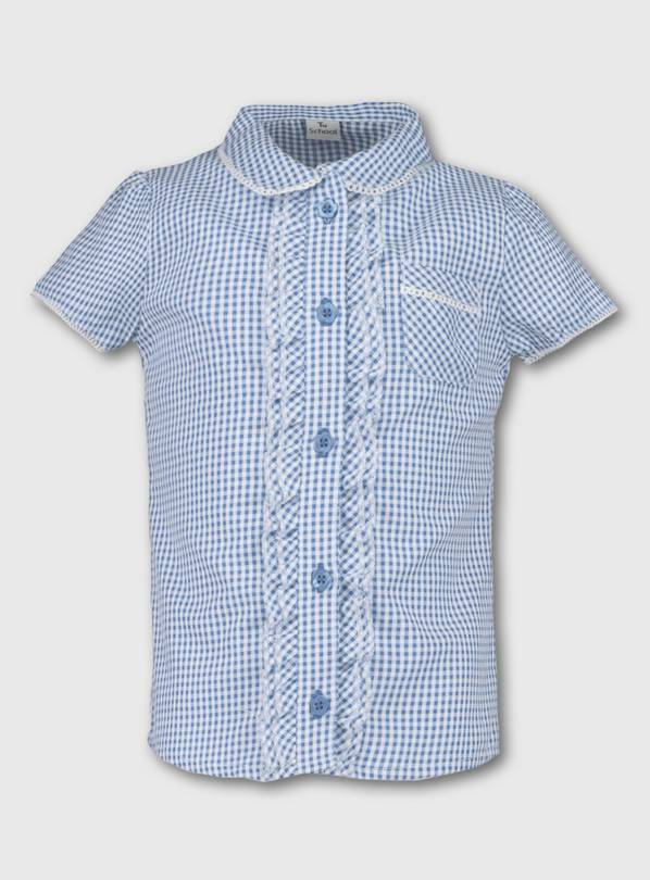 Blue Gingham School Blouse - 11 years