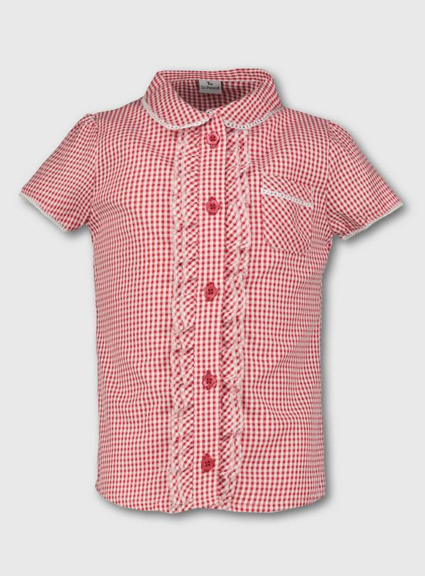 Red Gingham School Blouse - 12 years