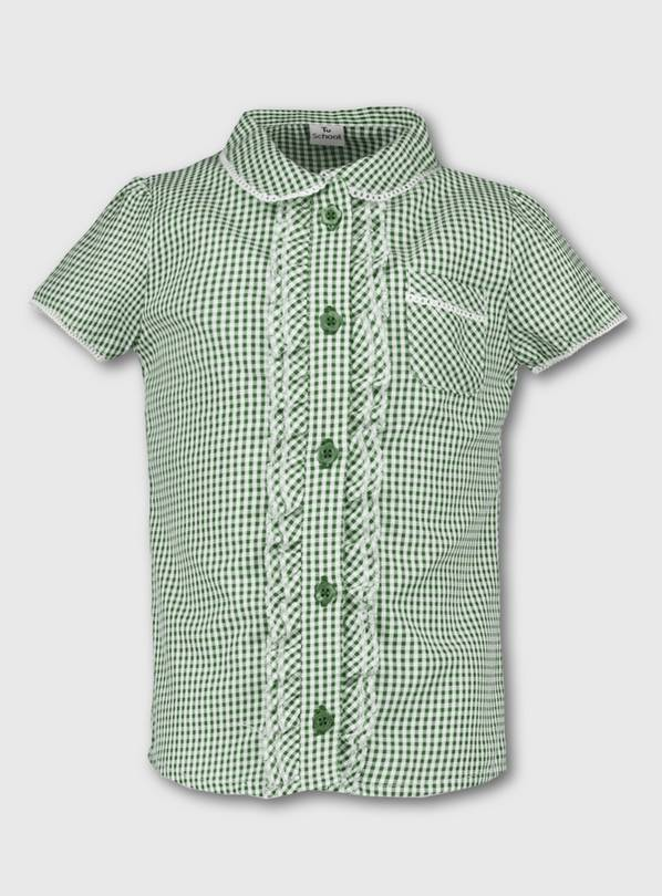 Green Gingham School Blouse - 11 years
