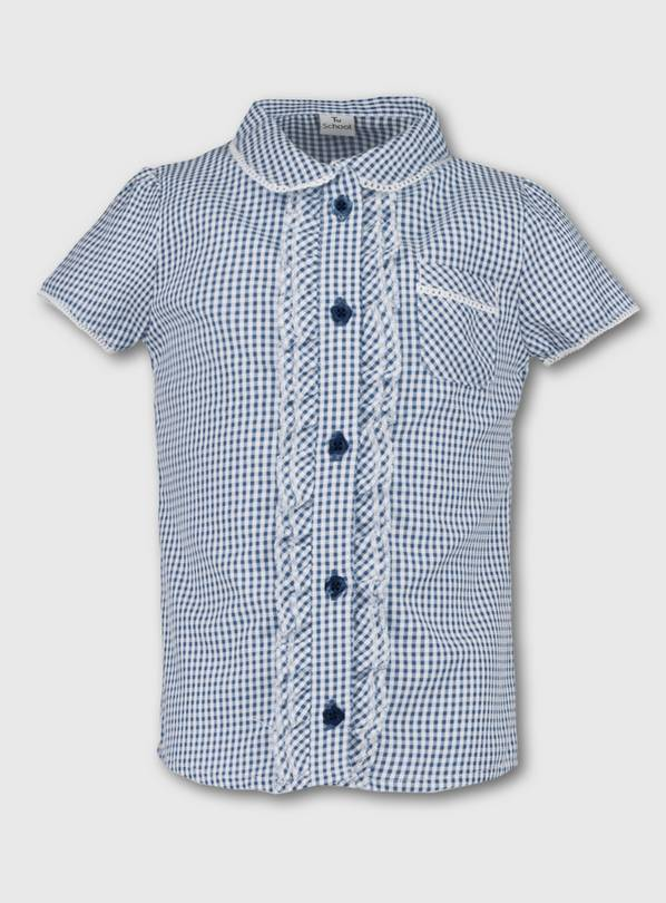 Navy Blue Gingham School Blouse - 9 years