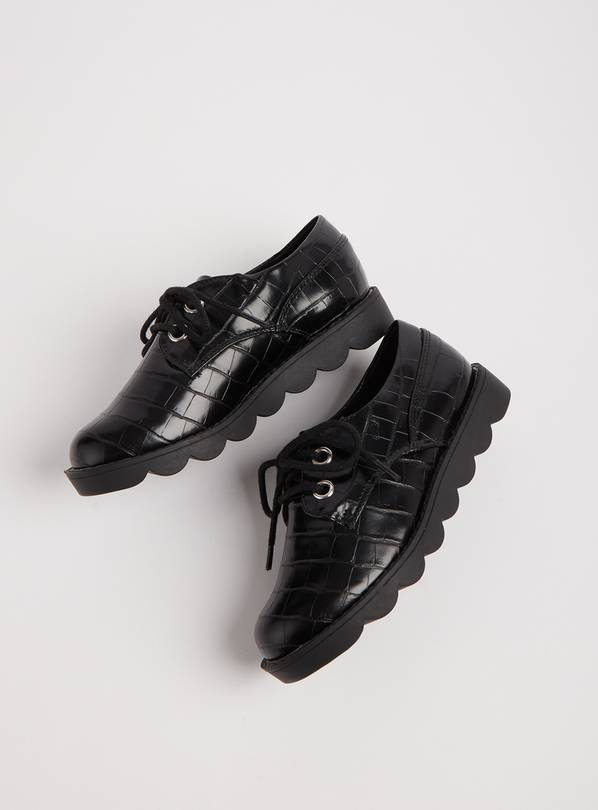 Black Mock Croc Bubble Sole School Shoes - 1