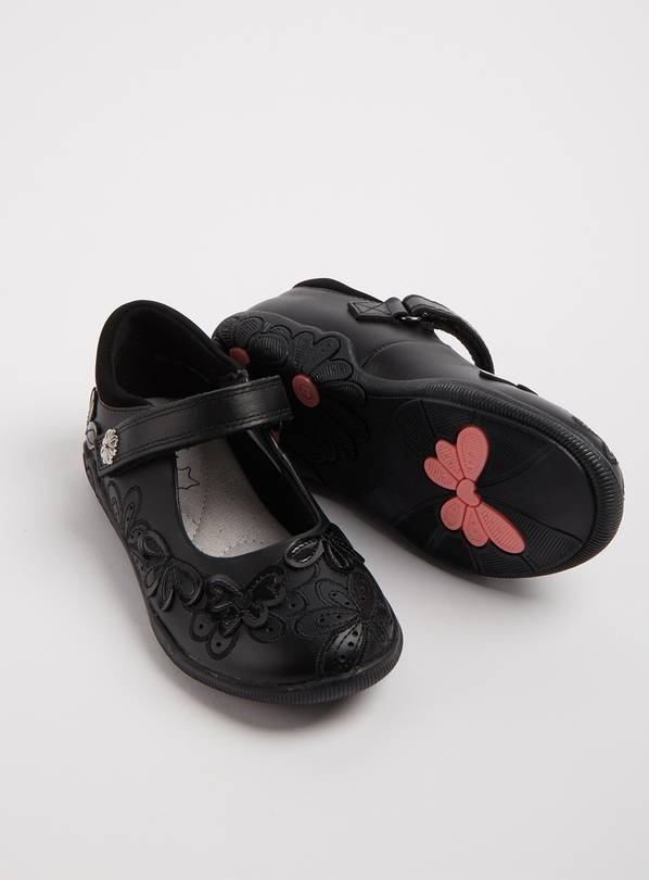 Black Leather Floral One Touch Strap School Shoes - 10 Infan