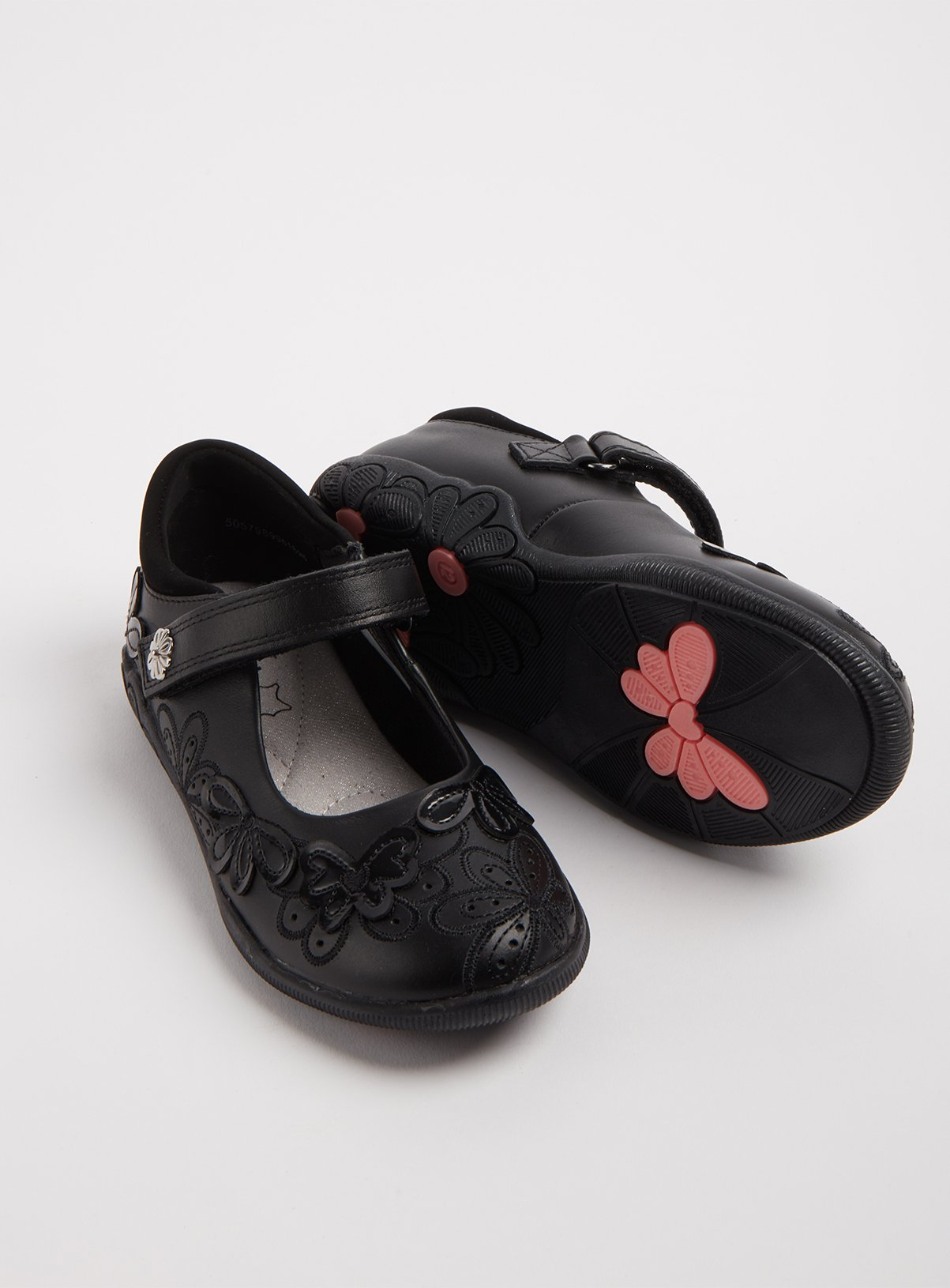 Black Leather Floral One Touch Strap School Shoes - 13 Infan