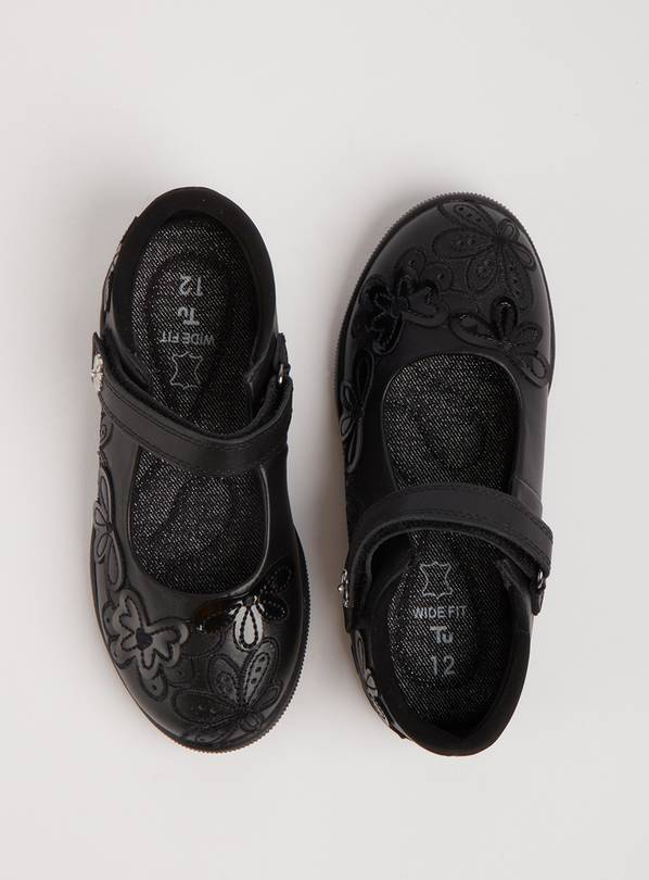Black Leather Floral Strap Wide Fit School Shoes - 10 Infant