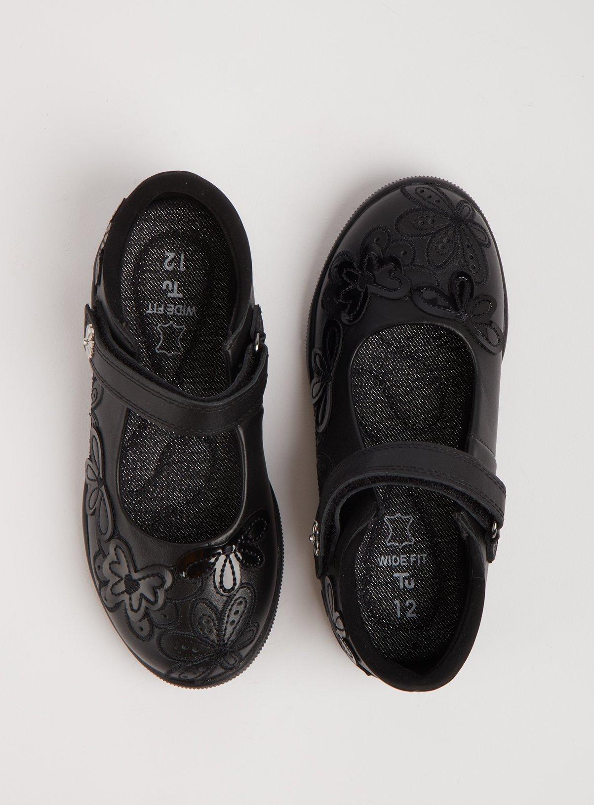 Black Leather Floral Strap Wide Fit School Shoes - 1