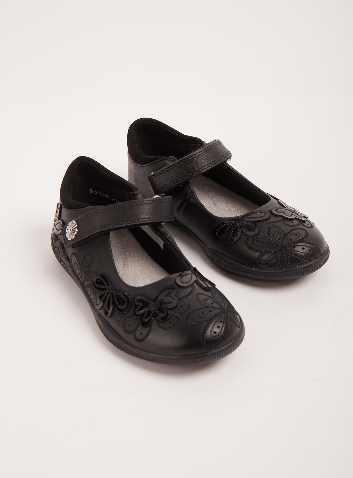 Black Floral Leather School Shoes - Half Sizes - 1