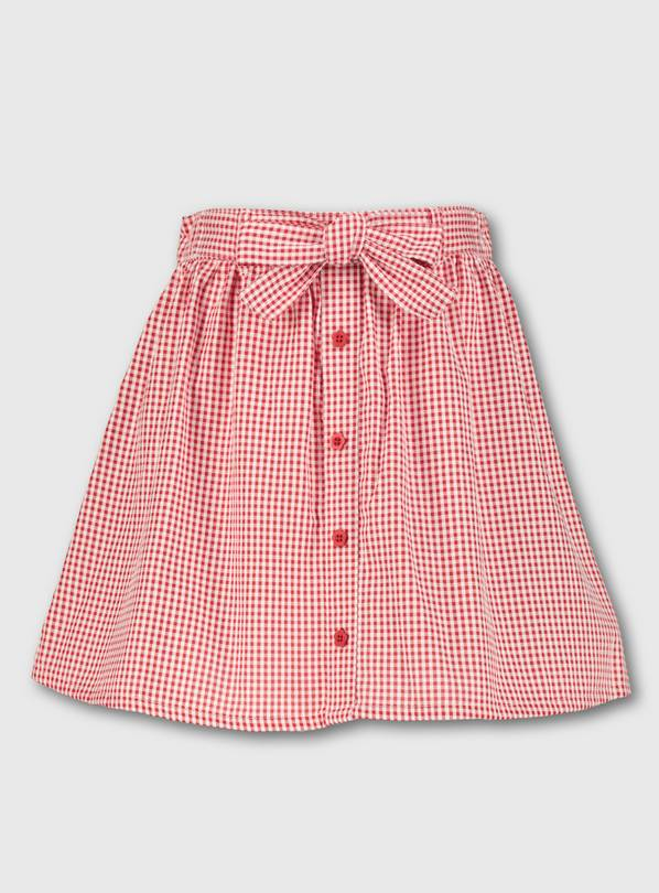 Red Gingham School Skirt - 6 years