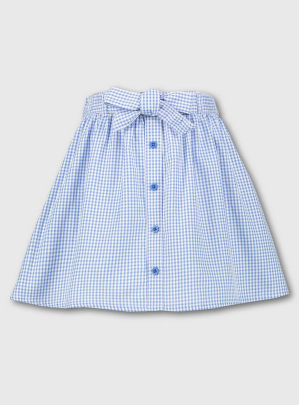 Blue Gingham School Skirt - 4 years