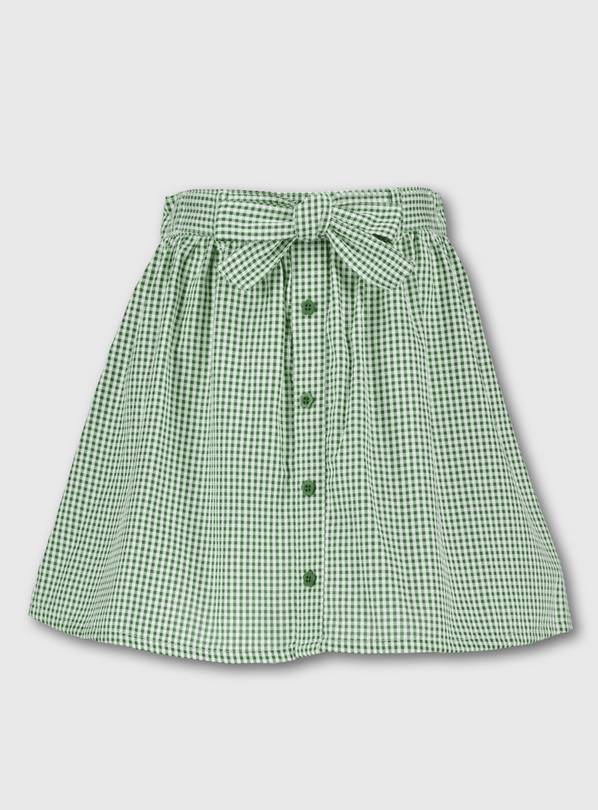 Green Gingham School Skirt - 8 years