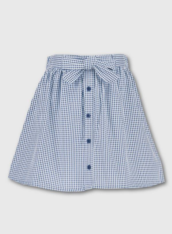 Navy Blue Gingham School Skirt - 10 years