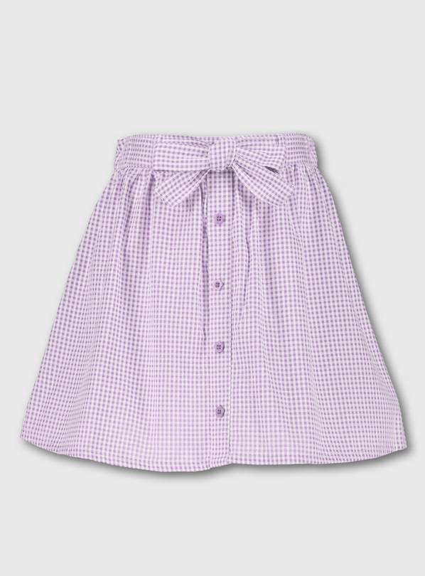 Lilac Gingham School Skirt - 6 years