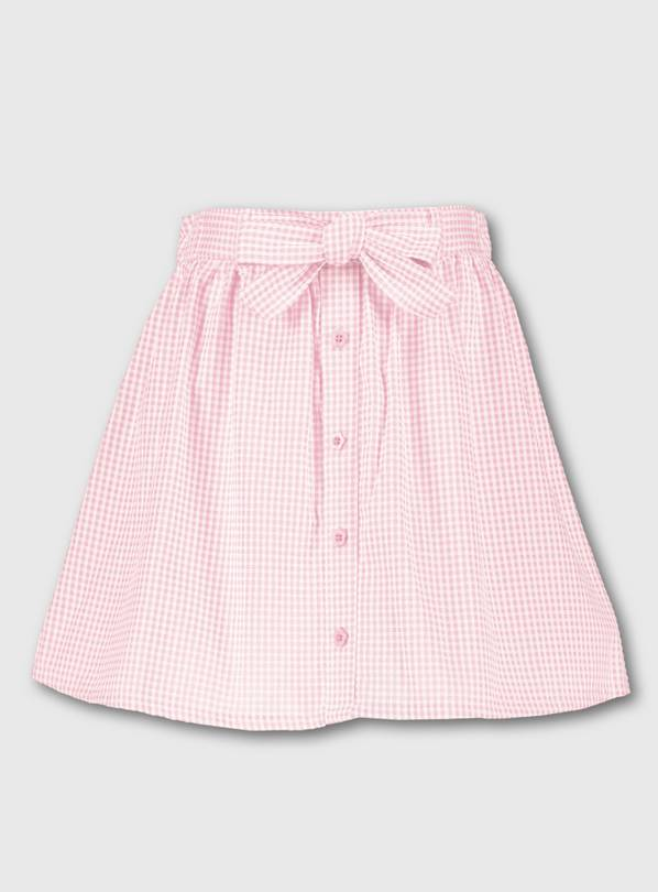 Pink Gingham School Skirt - 10 years