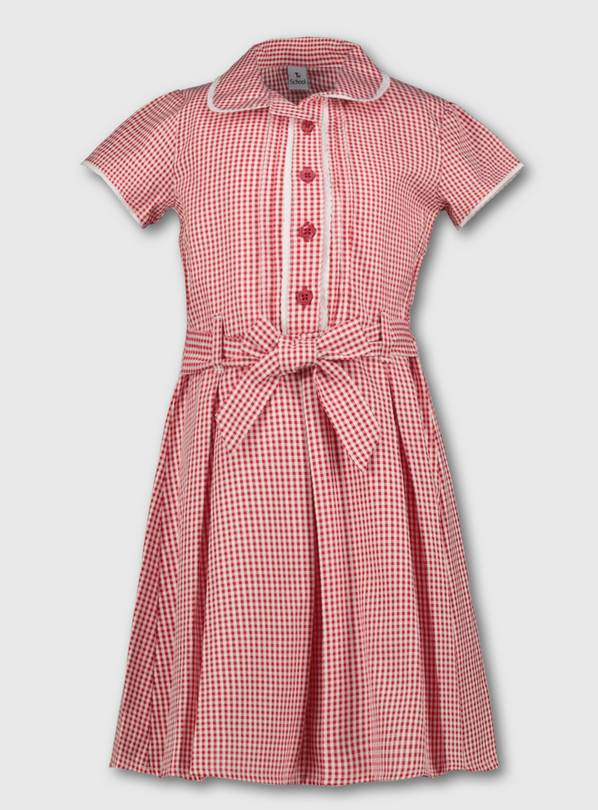 Red Classic Gingham School Dress - 11 years