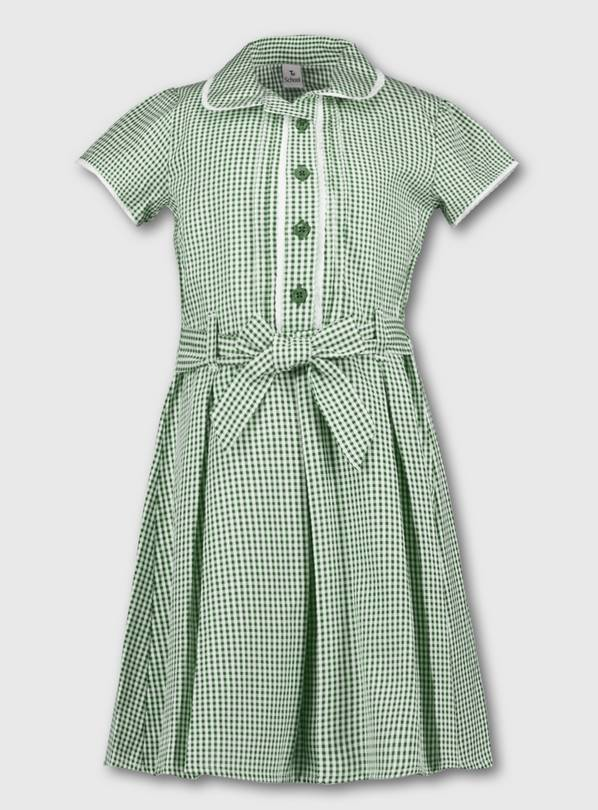 Green Classic Gingham School Dress - 13 years