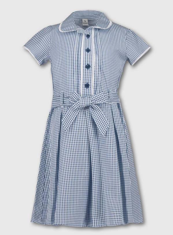 Navy Blue Classic Gingham School Dress - 7 years