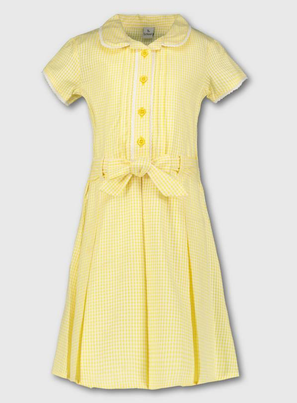 Yellow Classic Gingham School Dress - 10 years