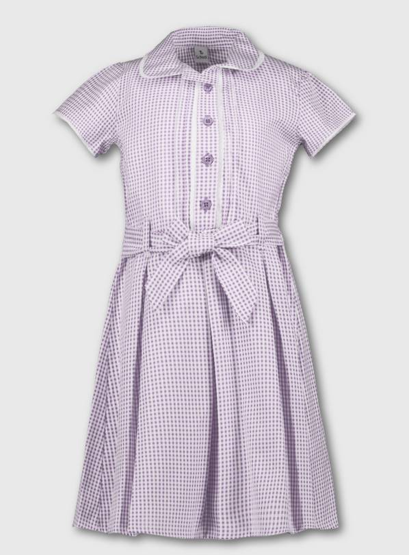 Lilac Classic Gingham School Dress - 8 years