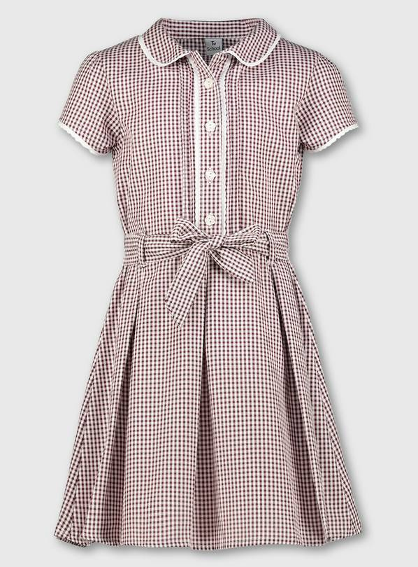 Dark Red Classic Gingham School Dress - 13 years