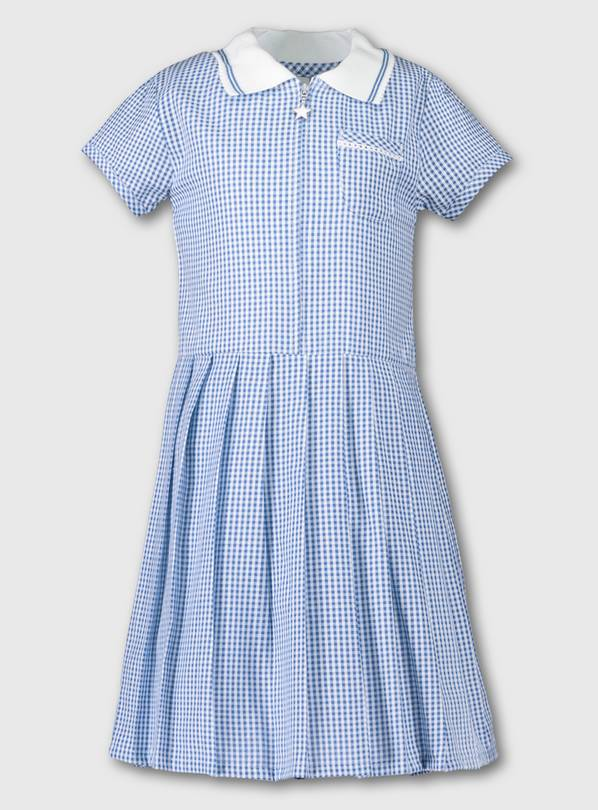 Blue Gingham Sporty Collar Pleated School Dress - 12 years