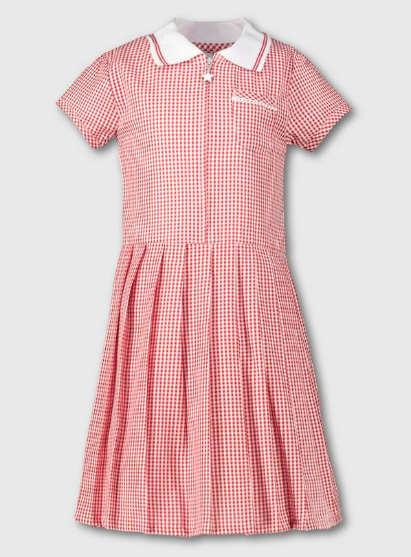 Red Gingham Sporty Collar Pleated School Dress - 10 years