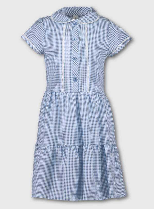 Blue Tiered Gingham School Dress - 10 years