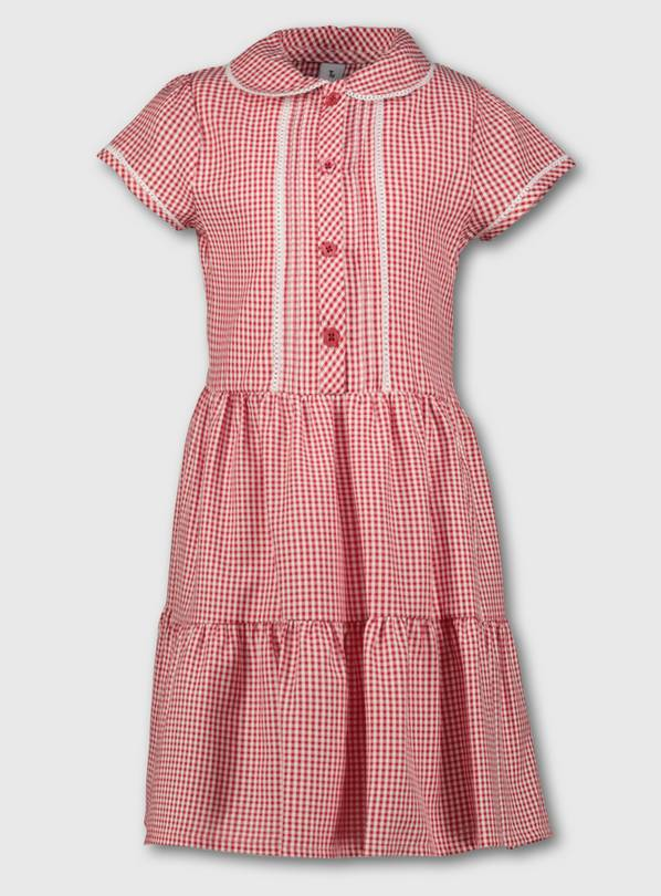 Red Tiered Gingham School Dress - 8 years