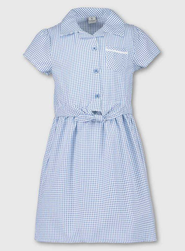 Blue Gingham Tie Front School Dress - 10 years