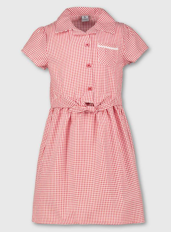 Red Gingham Tie Front School Dress - 12 years