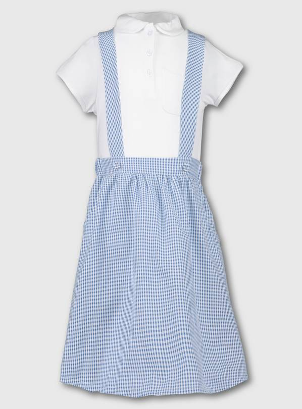 Blue & White Gingham School Skirt With Braces & Top - 10 yea