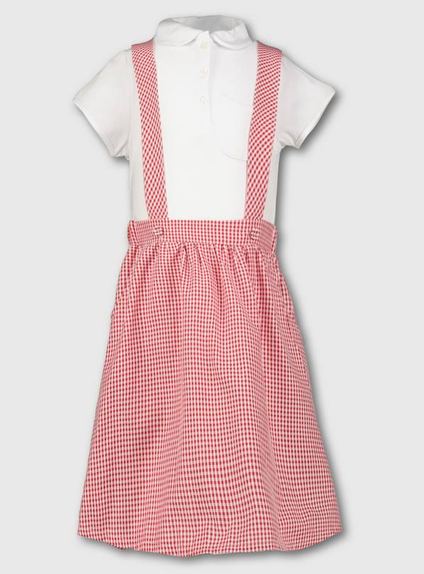 Red & White Gingham School Skirt With Braces & Top - 9 years