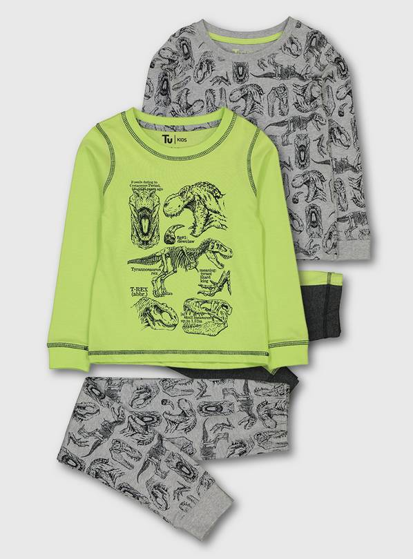 Lime Green Dinosaur Snuggle Fit Pyjamas 2 Pack - 1.5-2 years