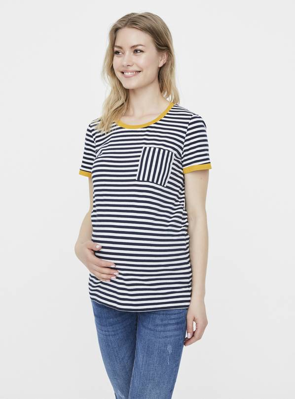 Stripe & Ochre Trim Maternity T-Shirt - 10