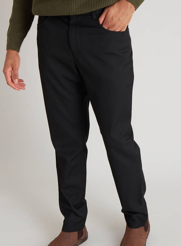 Black Slim Fit Trousers With Stretch - W32 L33