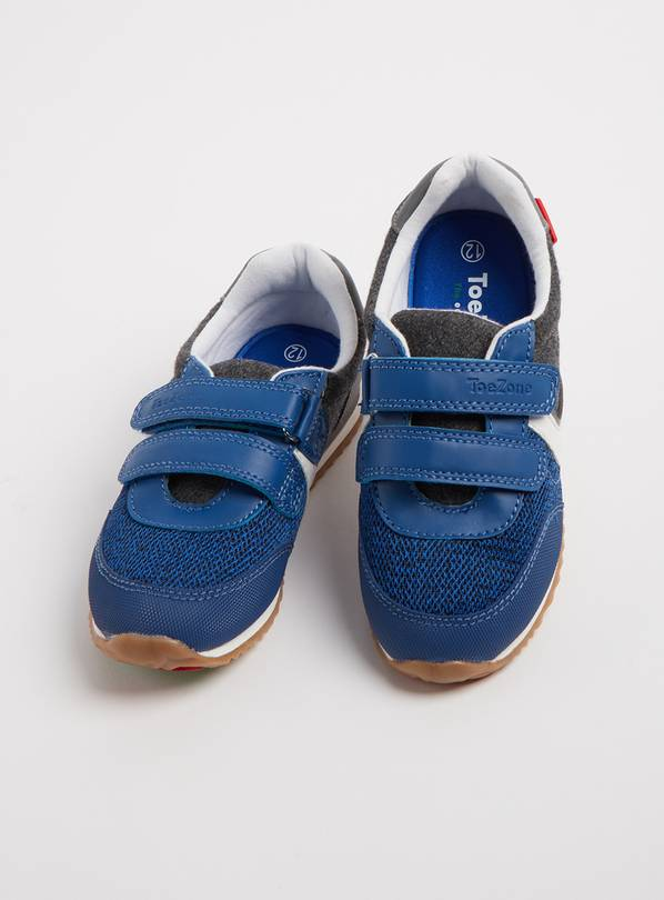 TOEZONE Blue Twin Strap Trainers - 13 Infant