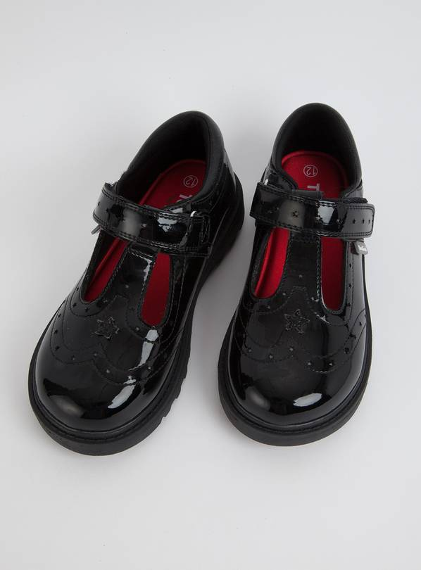 TOEZONE Black Patent Chunky Leather School Shoes - 12 Infant
