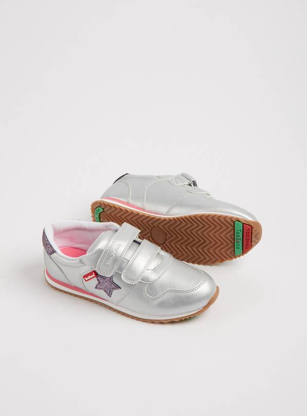 TOEZONE Silver Metallic Trainers - 11 Infant