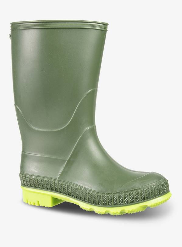 Green Reflective Wellies - 10 Infant