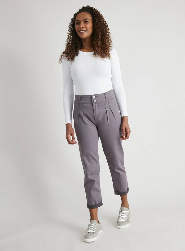 Grey Tapered Leg Carrot Jeans - 22