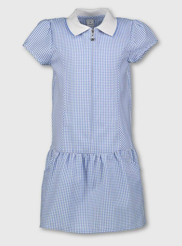 Blue Gingham Sporty Collar School Dress - 12 years