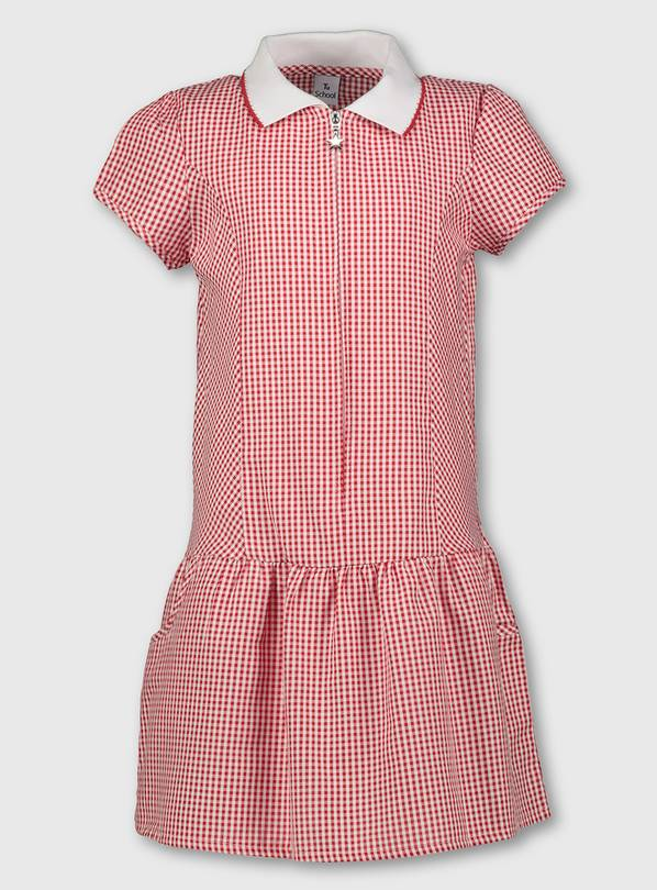 Red Gingham Sporty Collar School Dress - 12 years