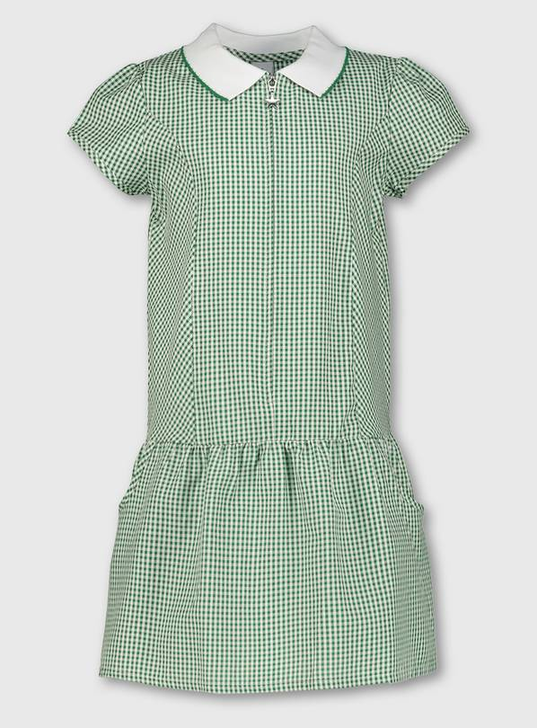 Green Gingham Sporty Collar School Dress - 13 years
