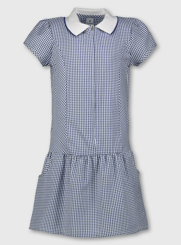 Navy Blue Gingham Sporty Collar School Dress - 8 years